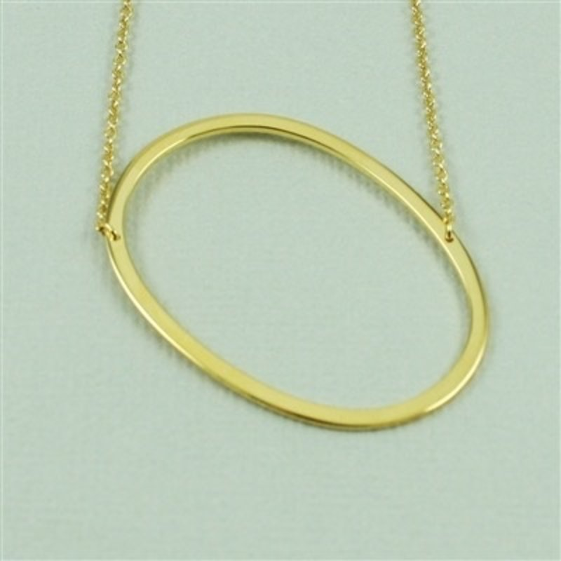 Cool and Interesting Gold Plated Large Sideways Initial Necklace - O
