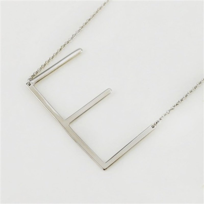Cool and Interesting Silver Plated Large Sideways Initial Necklace - E