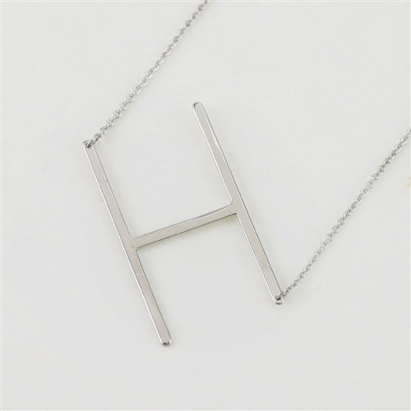 Cool and Interesting Silver Plated Large Sideways Initial Necklace - H