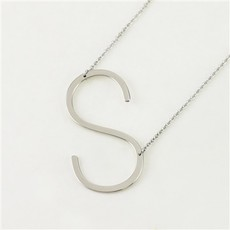 Cool and Interesting Cool and Interesting - Silver Plated Large Sideways Initial Necklace - S