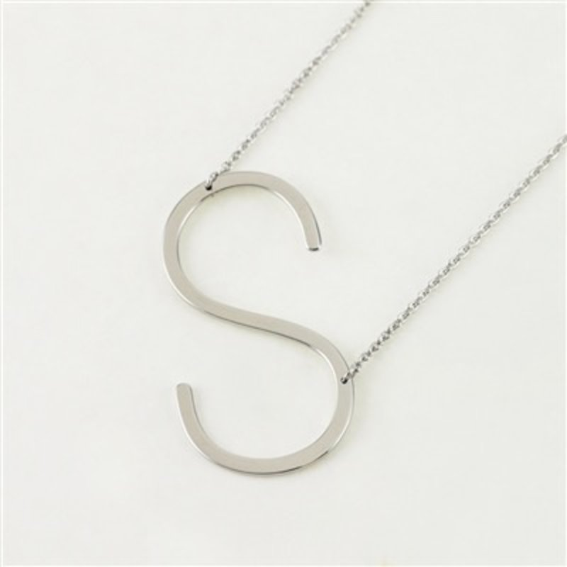 Cool and Interesting Silver Plated Large Sideways Initial Necklace - S