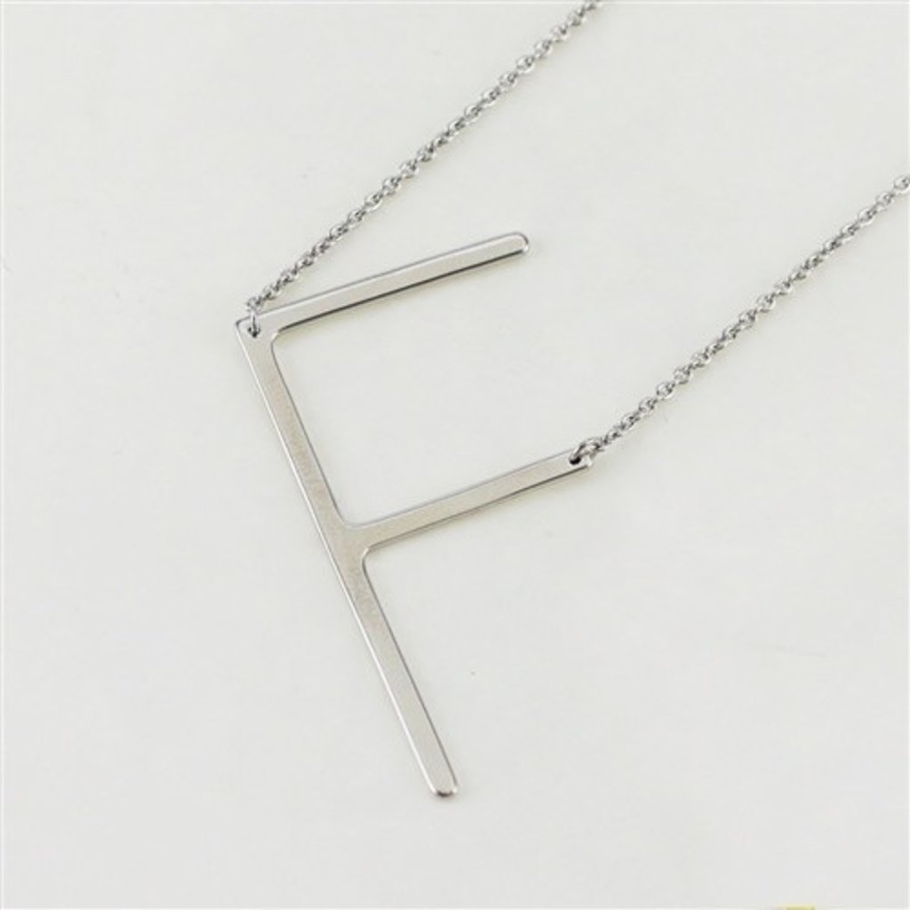 Cool and Interesting Cool and Interesting - Silver Plated Large Sideways Initial Necklace - F