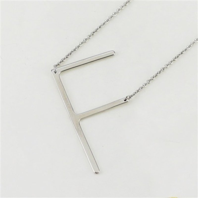 Cool and Interesting Silver Plated Large Sideways Initial Necklace - F