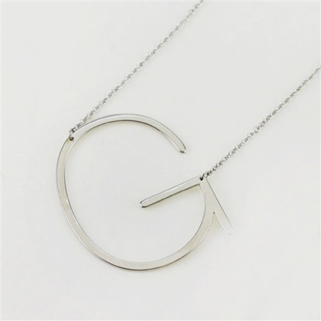 Cool and Interesting Cool and Interesting - Silver Plated Large Sideways Initial Necklace - G