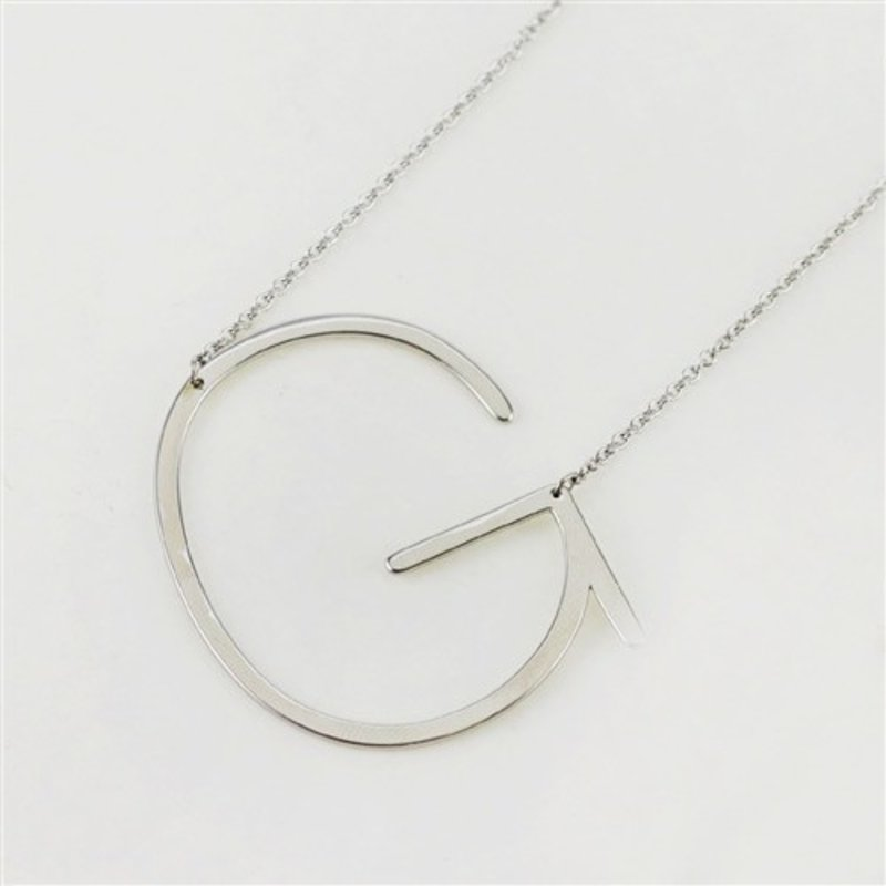 Cool and Interesting Silver Plated Large Sideways Initial Necklace - G