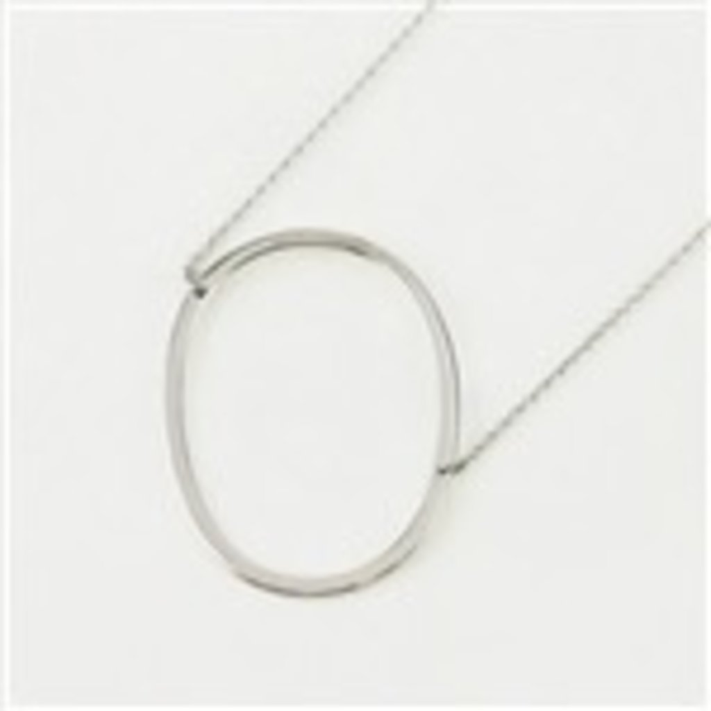 Cool and Interesting - Silver Plated Large Sideways Initial Necklace - O