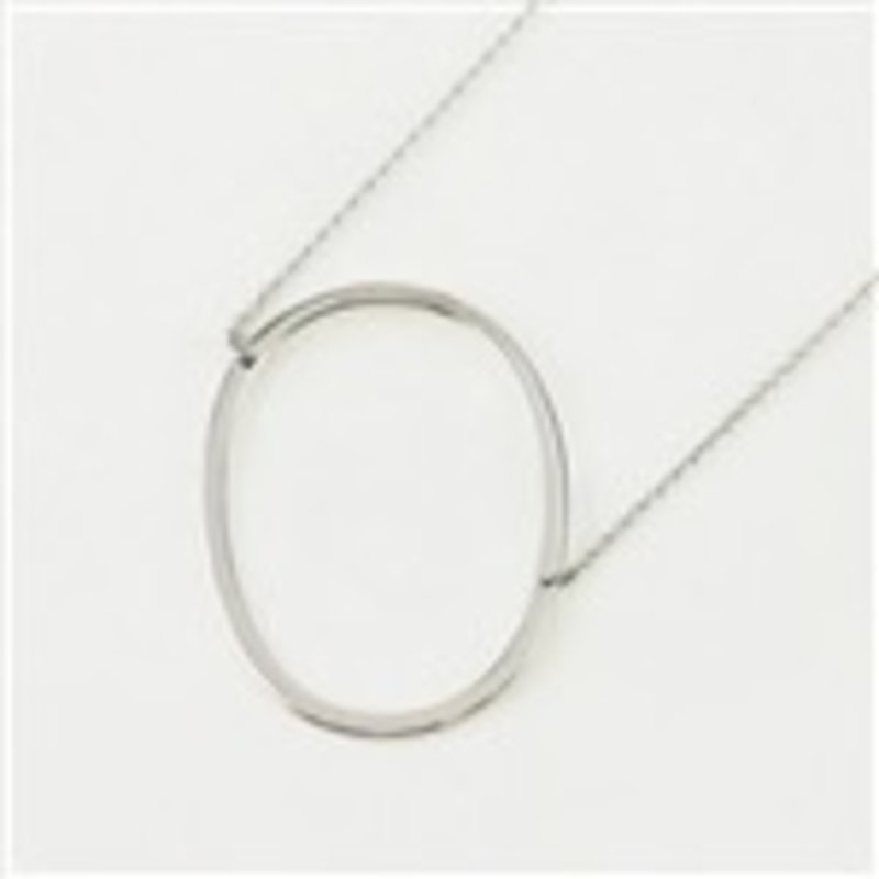 Cool and Interesting Silver Plated Large Sideways Initial Necklace - O