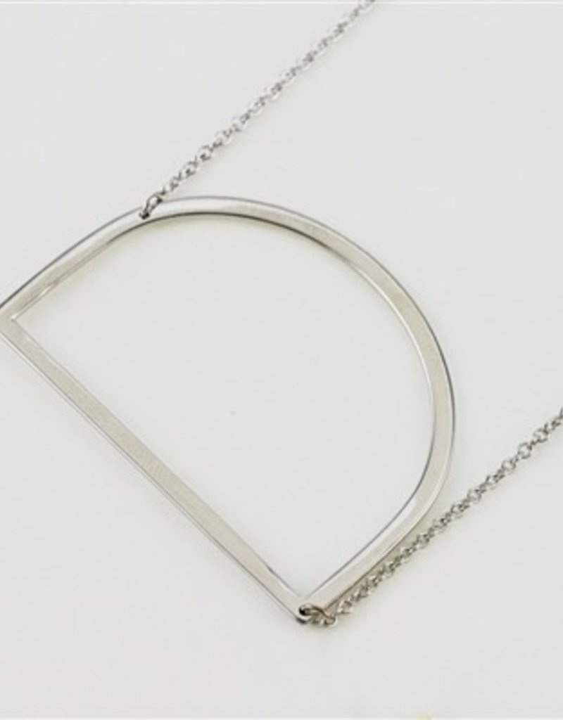 Cool and Interesting - Silver Plated Large Sideways Initial Necklace - D