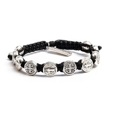 My Saint My Hero - Confirmation Bracelet - Silver Medal - Black