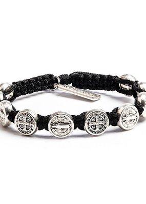 My Saint My Hero - Confirmation Bracelet - Silver Medal - Black