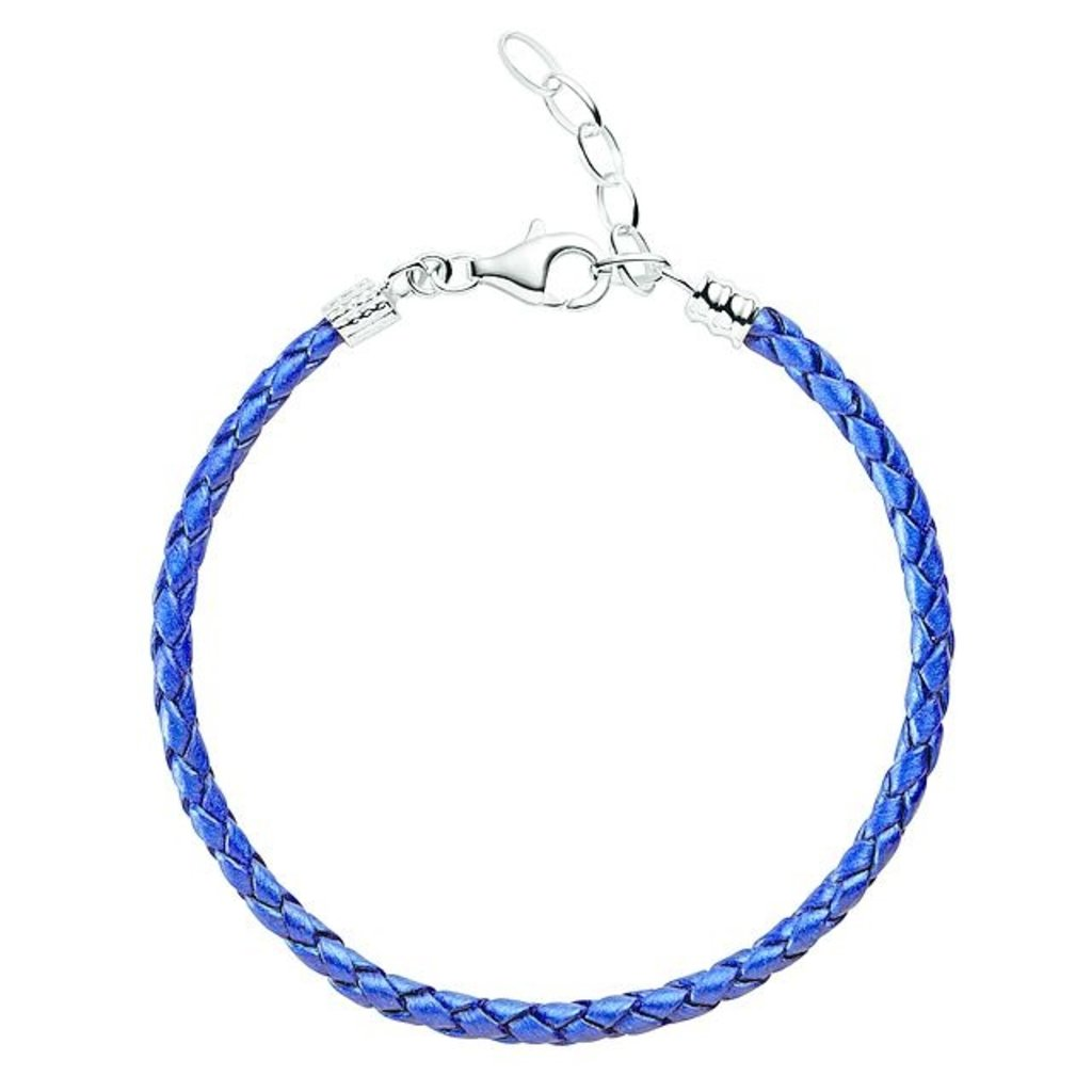 Chamilia Chamilia One Size Blue Metallic Braided Leather Bracelet