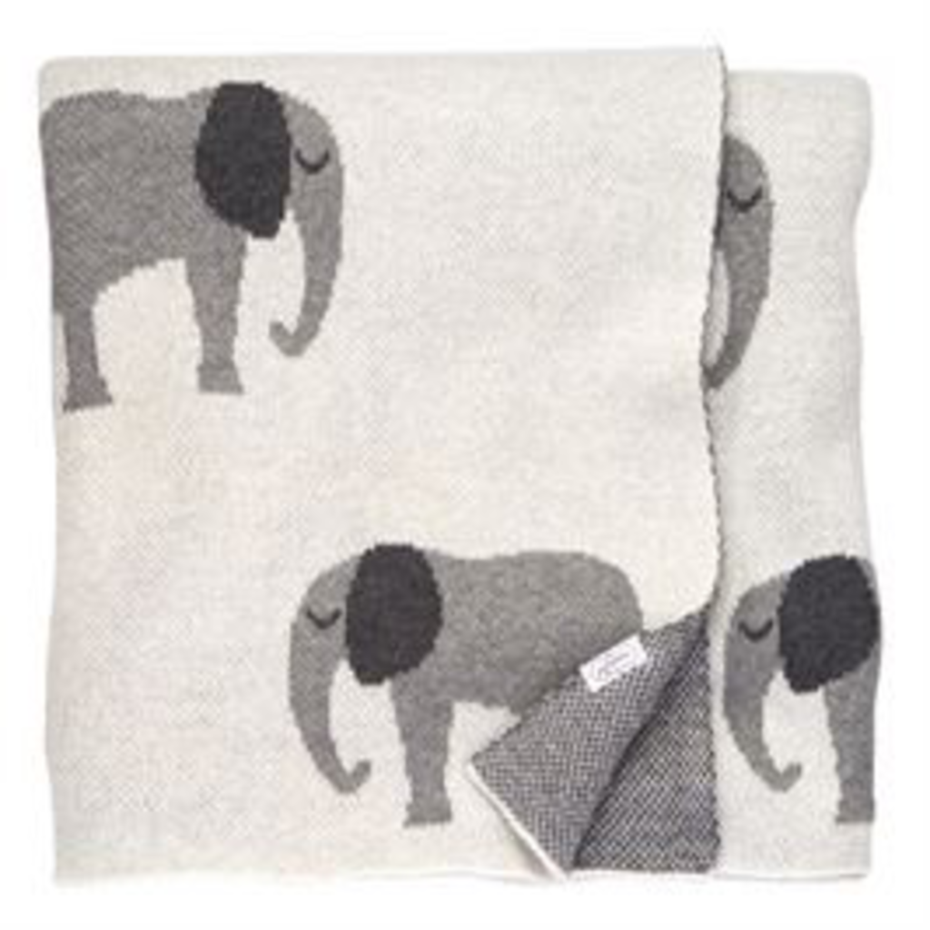 Mud Pie Mud Pie Knit Elephant Blanket