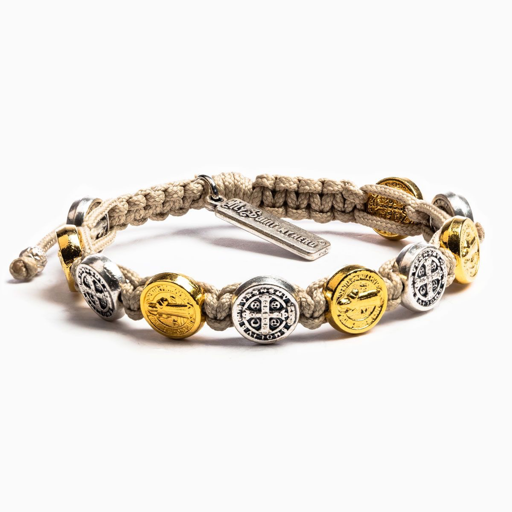 My Saint My Hero My Saint My Hero - Benedictine Blessing Bracelet - Gold & Silver Medals - Tan