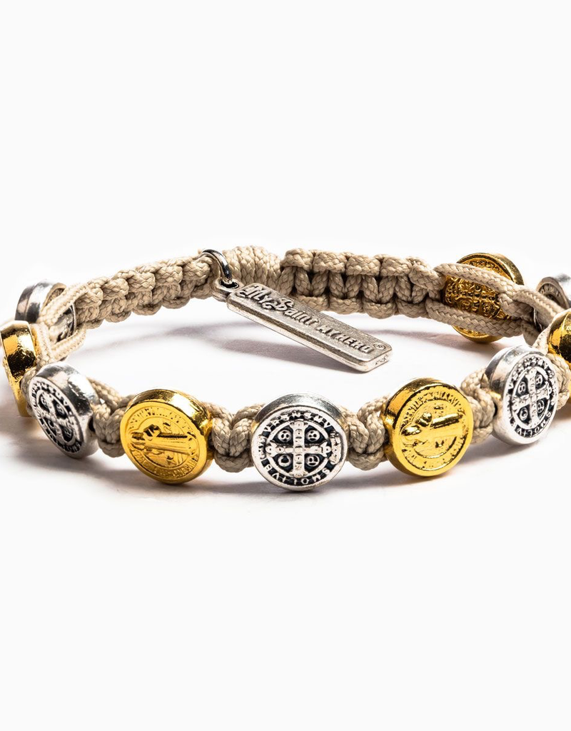 My Saint My Hero - Benedictine Blessing Bracelet - Gold & Silver Medals - Tan