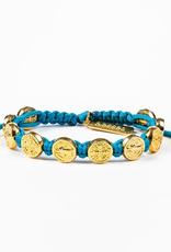 My Saint My Hero - Benedictine Blessing Bracelet - Gold/Turquoise