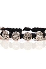 My Saint My Hero - Benedictine Blessing Bracelet - Silver Medal - Black