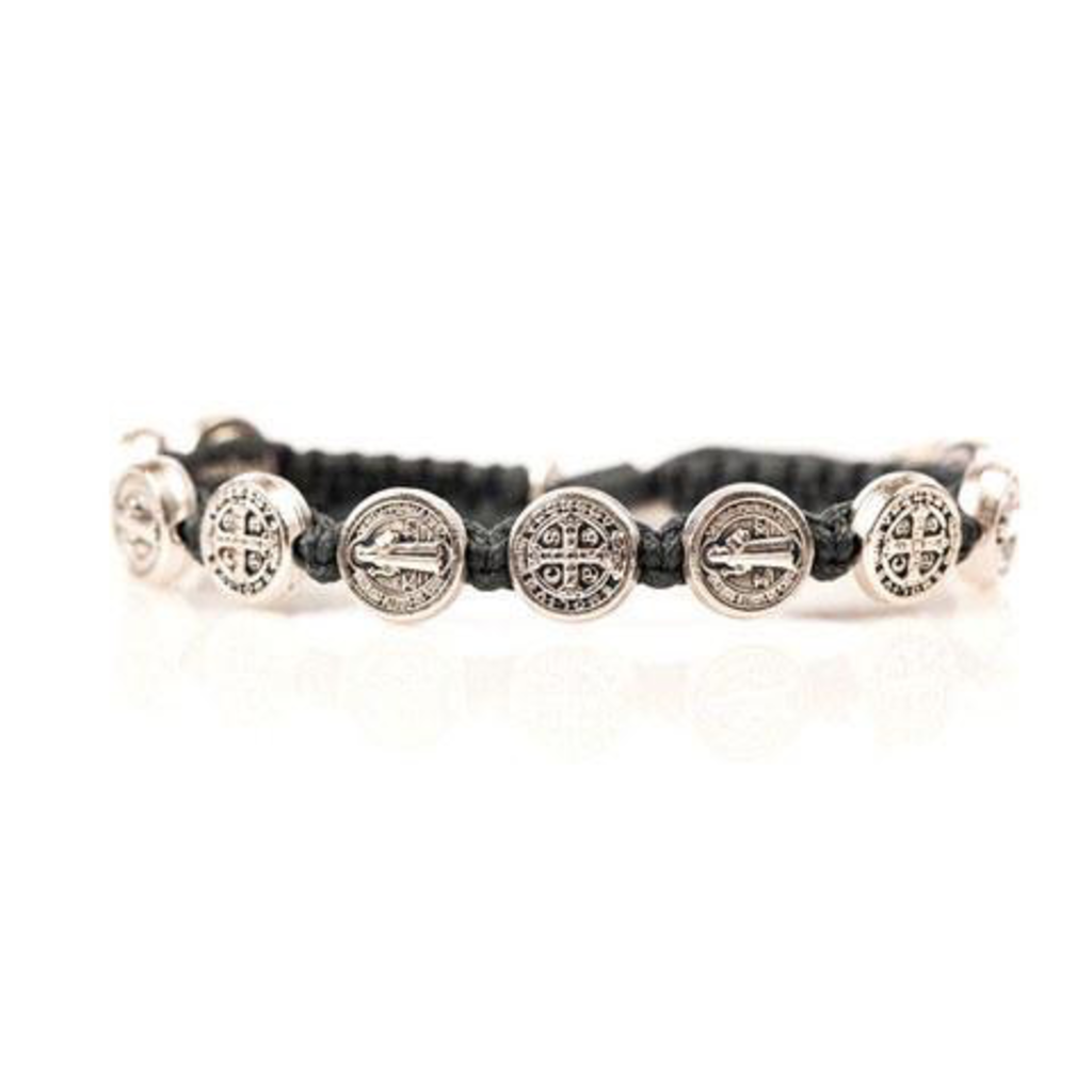 My Saint My Hero My Saint My Hero - Benedictine Blessing Bracelet - Silver Medal - Slate