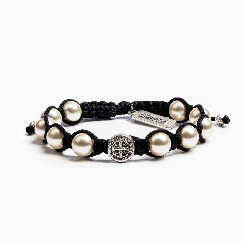 My Saint My Hero My Saint My Hero - Divine Blessing Bracelet - Black, Silver & Ivory Pearl