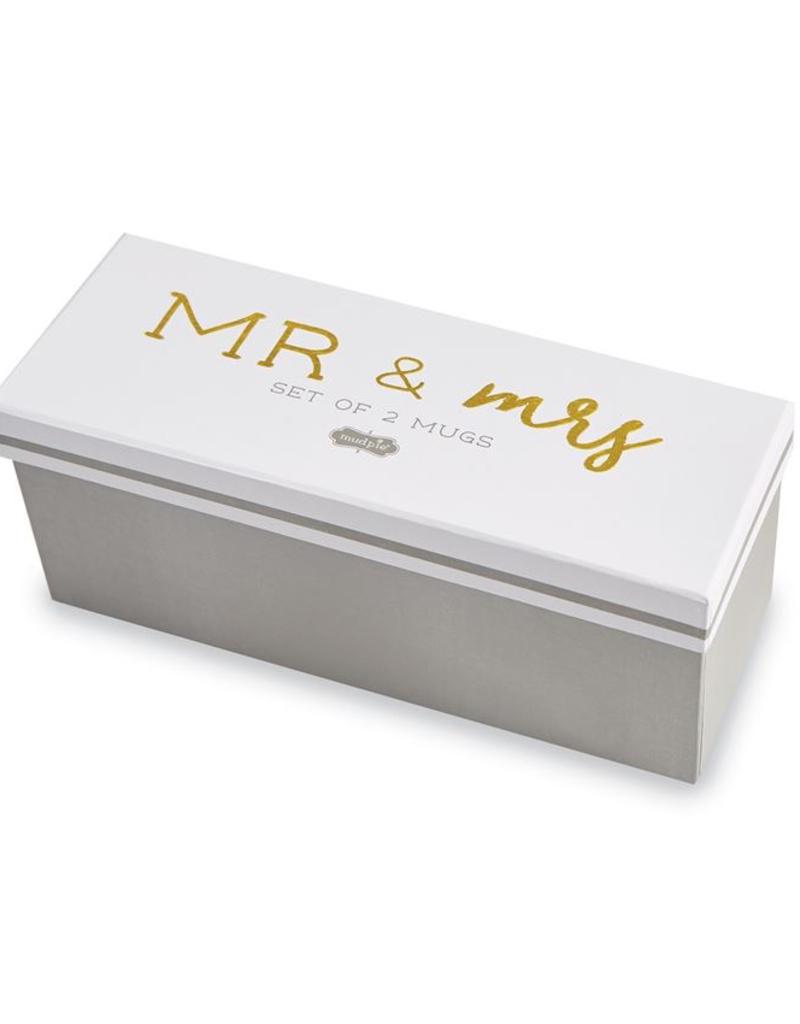 Mud Pie Mr. & Mrs. Boxed Mug Set