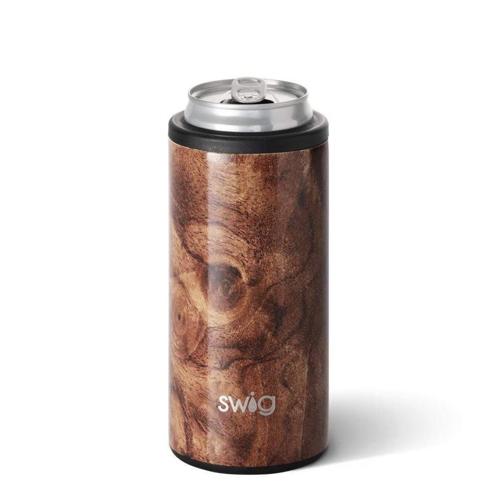 Swig 12oz Skinny Can Cooler Black Walnut
