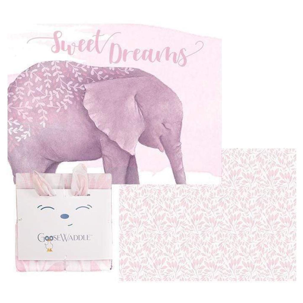 GooseWaddle GooseWaddle 2 Pk Receiving Blanket Poppy Elephant - Leaves