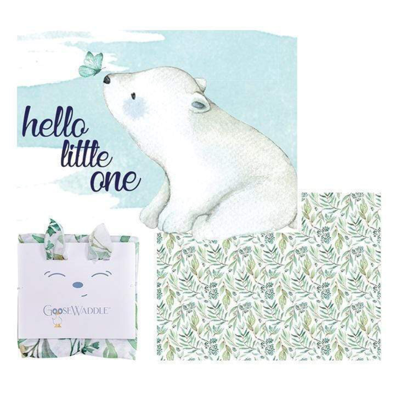 GooseWaddle GooseWaddle 2 PK Receiving Blanket Basil Bear - Leaves