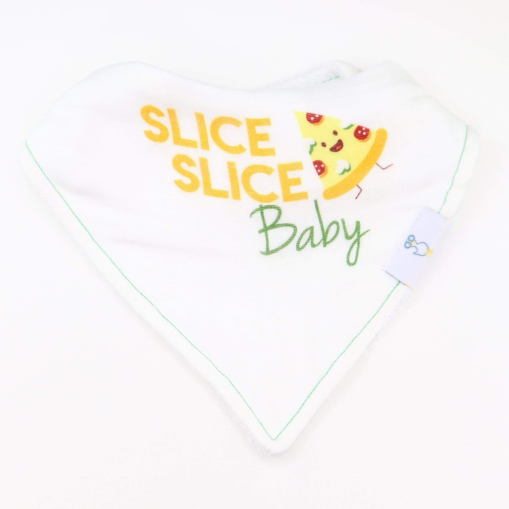 GooseWaddle GooseWaddle 2 PK Muslin & Terry Cloth Bib Set - Slice Slice Baby