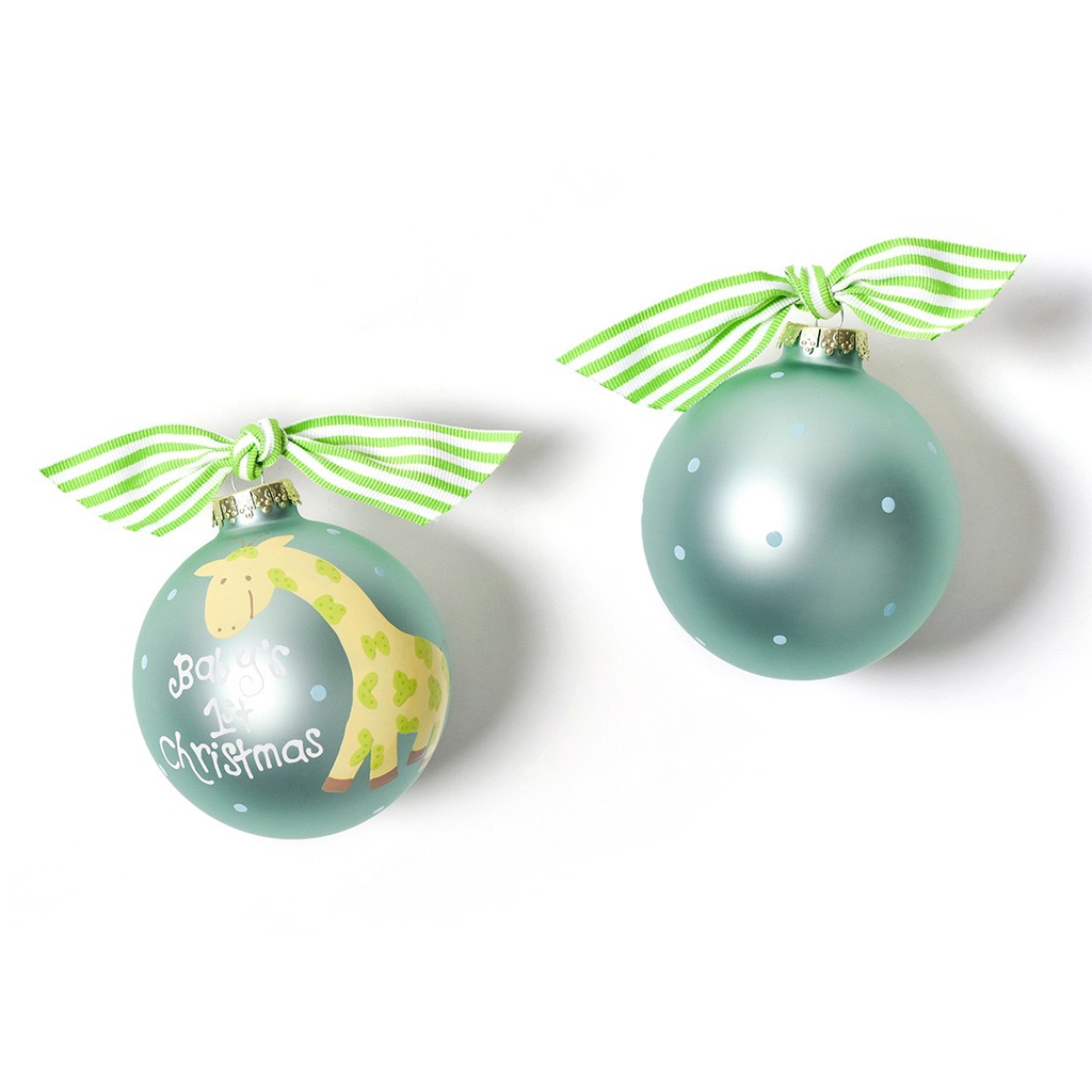 Coton Colors - Baby's First Christmas Giraffe Glass Ornament