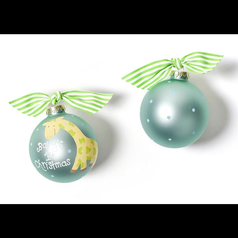 Baby's First Christmas Giraffe Glass Ornament