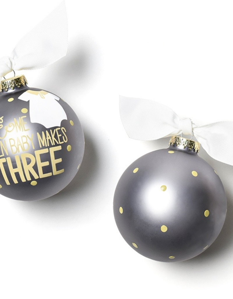 Coton Colors - You and Me Then Baby Makes 3 Glass Ornament