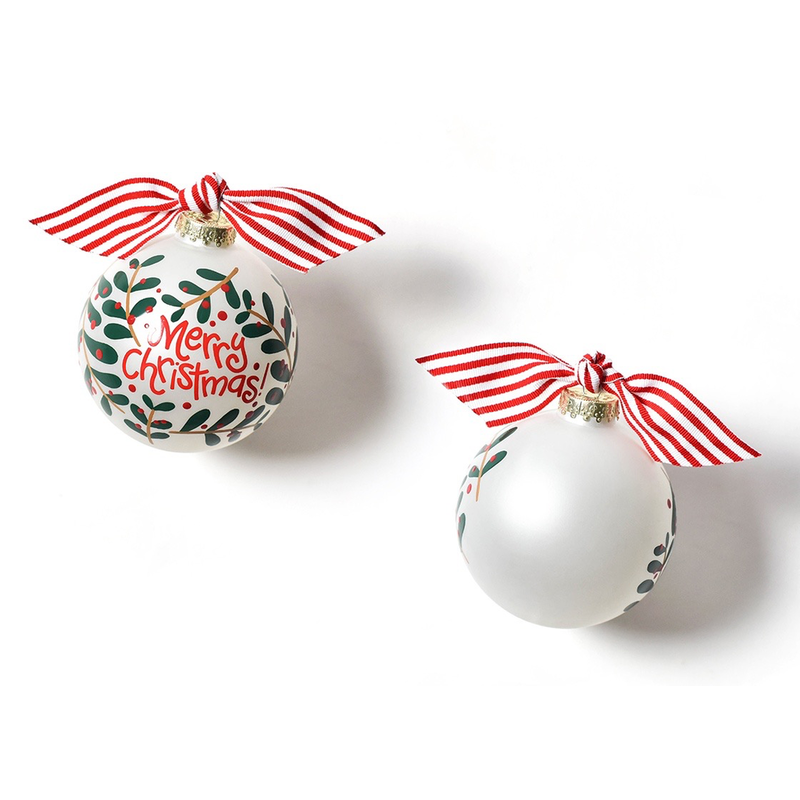 Merry Christmas Holly Branch  Glass Ornament