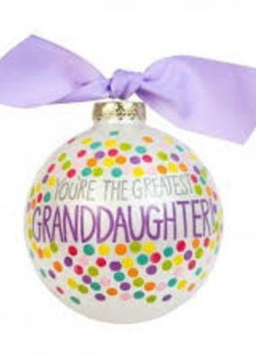 You're the Greatest Granddaughter Bright Confetti Glass Ornament