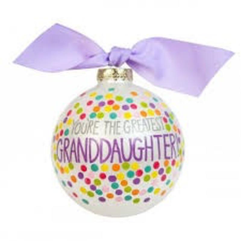 You're the Greatest Granddaughter Bright Confetti Glass Ornament