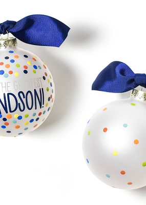 You're the Greatest Grandson Bright Confetti Glass Ornament