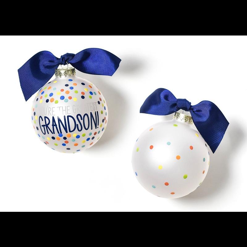 You're the Greatest Grandson Bright Confetti Glass Ornament