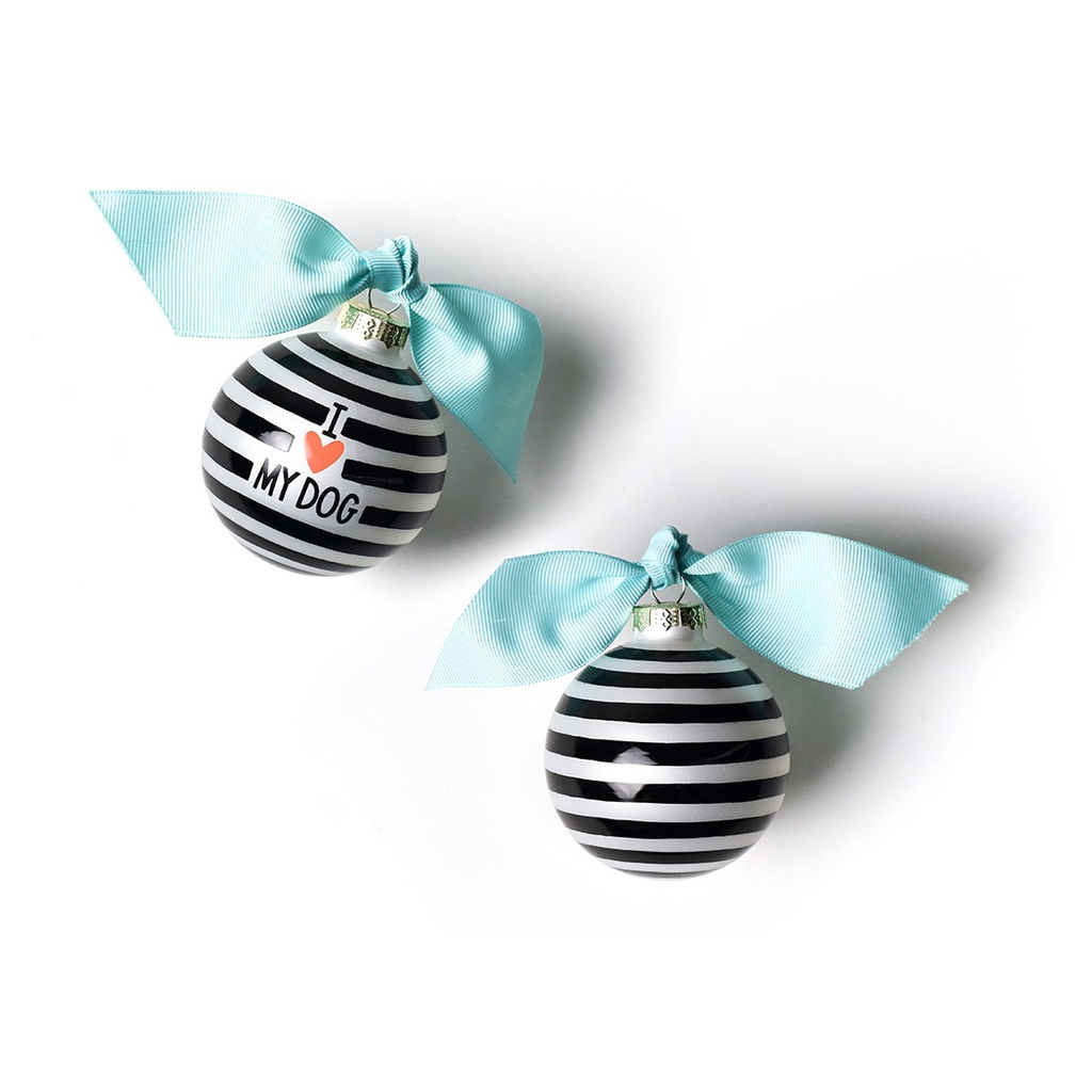 Coton Colors - I Love My Dog Stripe Glass Ornament Black
