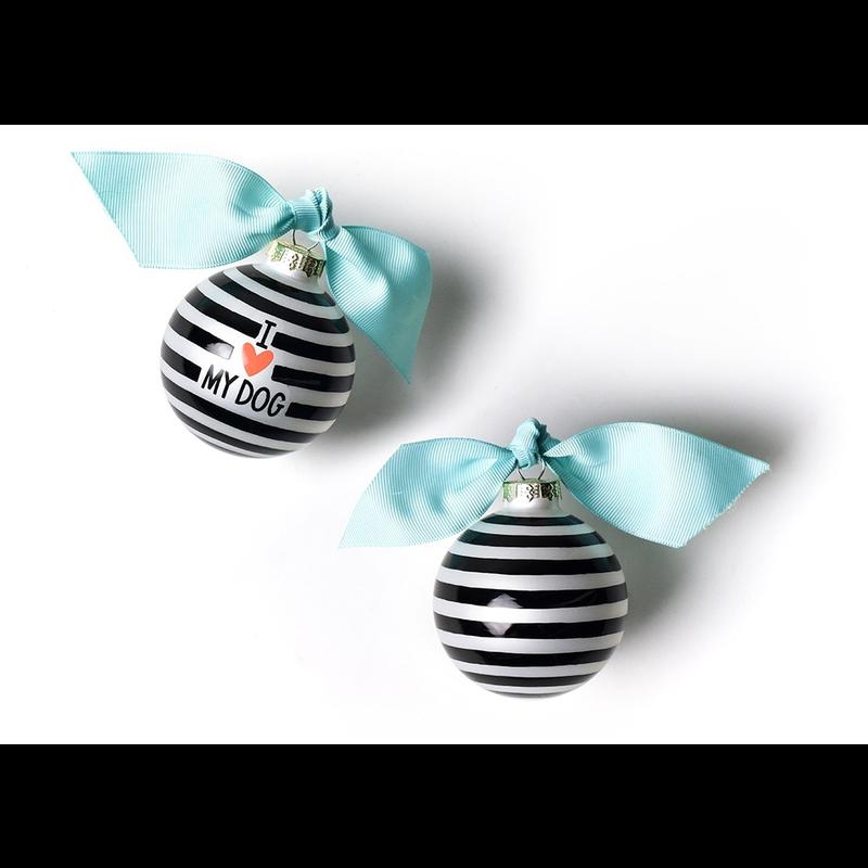 I Love My Dog Stripe Glass Ornament Black