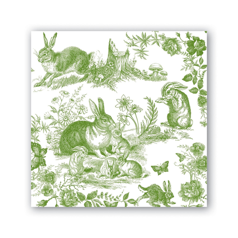 Michel Design Works Cocktail Napkins - Bunny Toile