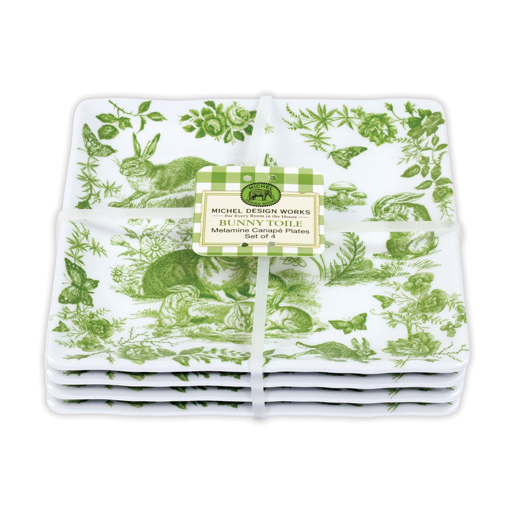 Michel Design Works Michel Design Works Melamine Canape Plate Set of 4 - Bunny Toile