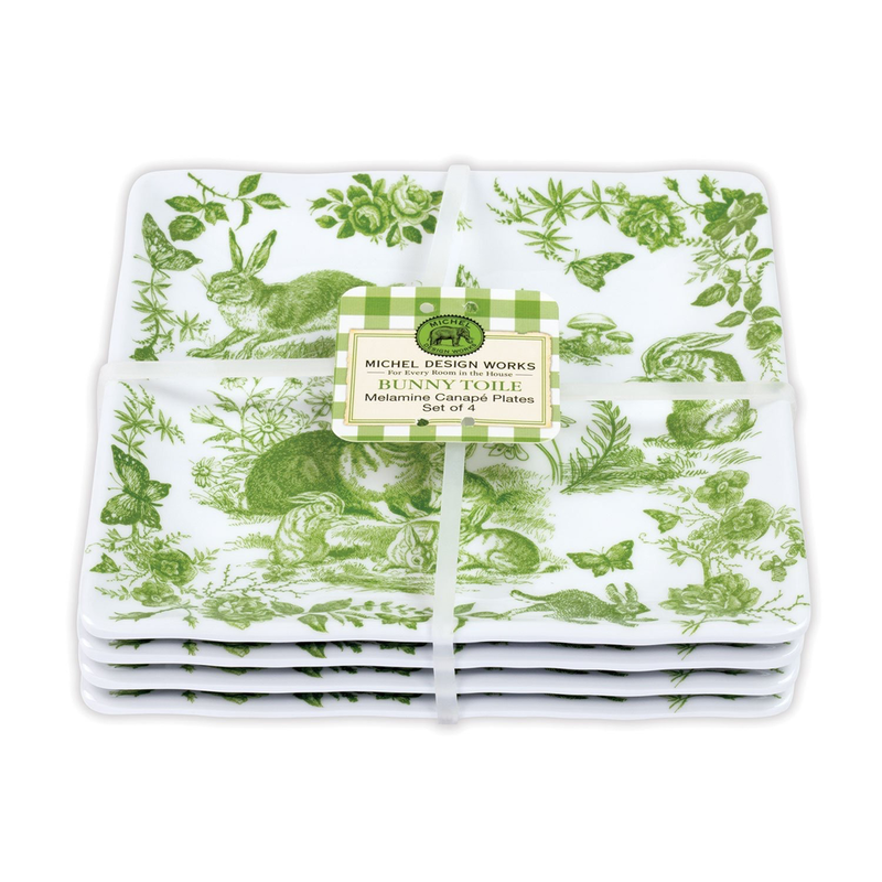 Michel Design Works Melamine Canape Plate Set of 4 -  Bunny Toile