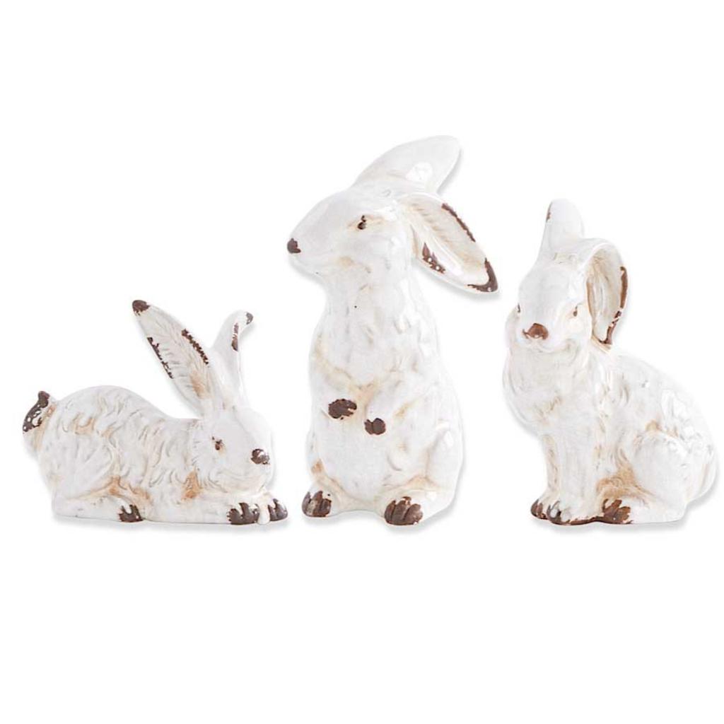 "K&K Interiors K&K 7"" Assorted Vintage White Ceramic Bunnies"