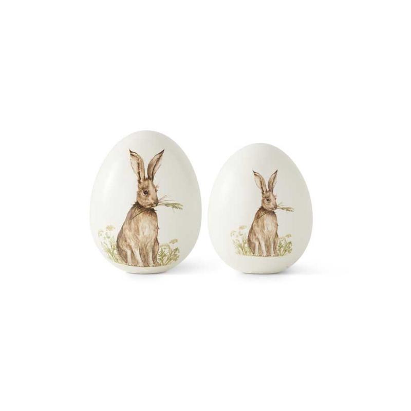 """K&K Interiors K&K 6.5"""" White Ceramic Tabletop Eggs with Vintage Bunny"""