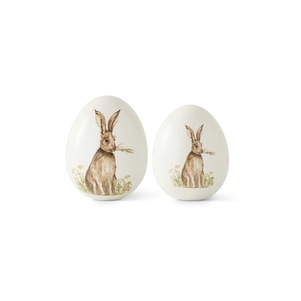 4.5 Inch White Ceramic Tabletop Eggs with Vintage Bunny