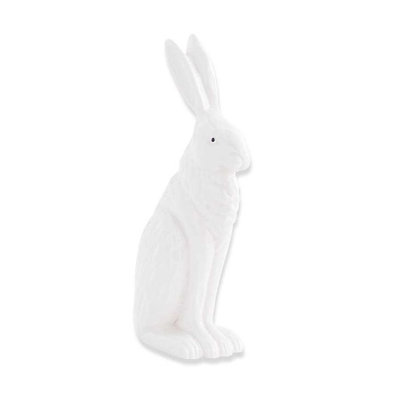 """K&K Interiors K&K 8.5"""" White Porcelain Rabbit Sitting with Ears Up"""