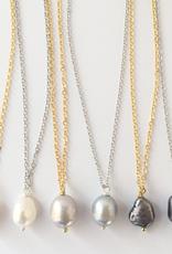 Rebeca Pearl Single Necklace - Gold - Black Pearl