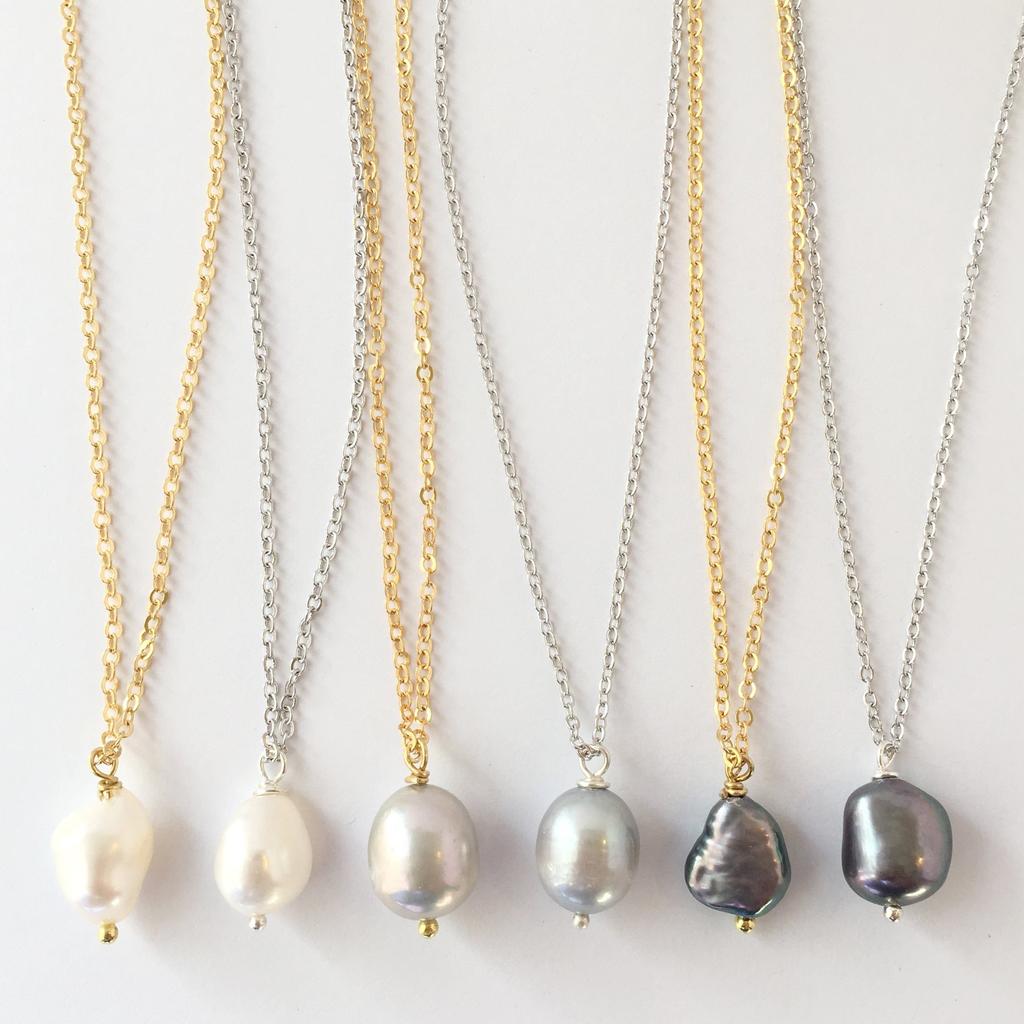 Rebecca Pearl Single Necklace - Gold - Gray Pearl