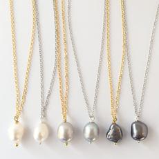 Rebecca Single Pearl Necklace - Silver - White Pearl