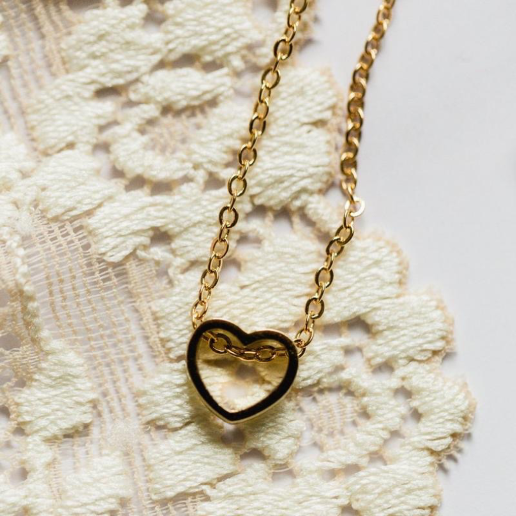 Rebecca Heart Cut Out Necklace - Gold