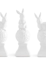 Assorted White Ceramic Finials with Bunnies on Top