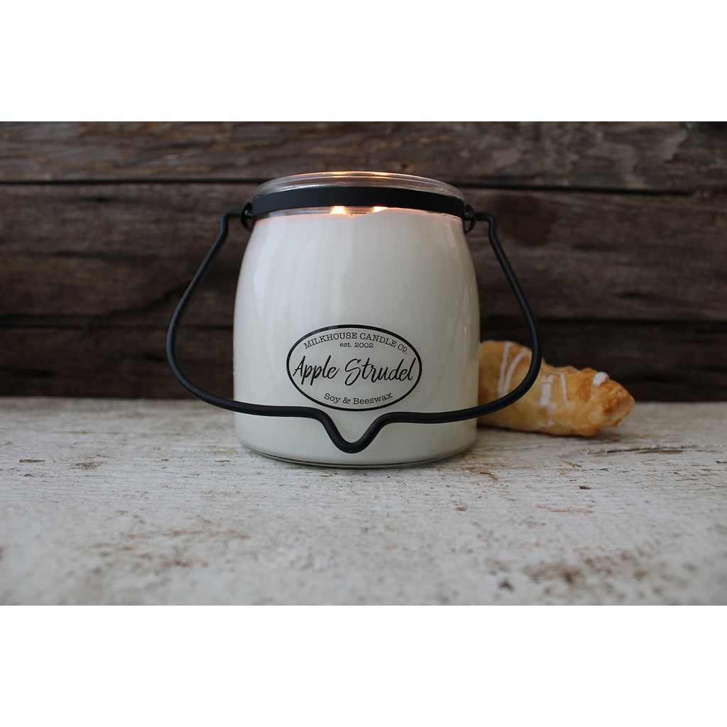Milkhouse Candle Creamery Milkhouse Candle Creamery Butter Jar 16 oz:  Apple Strudel